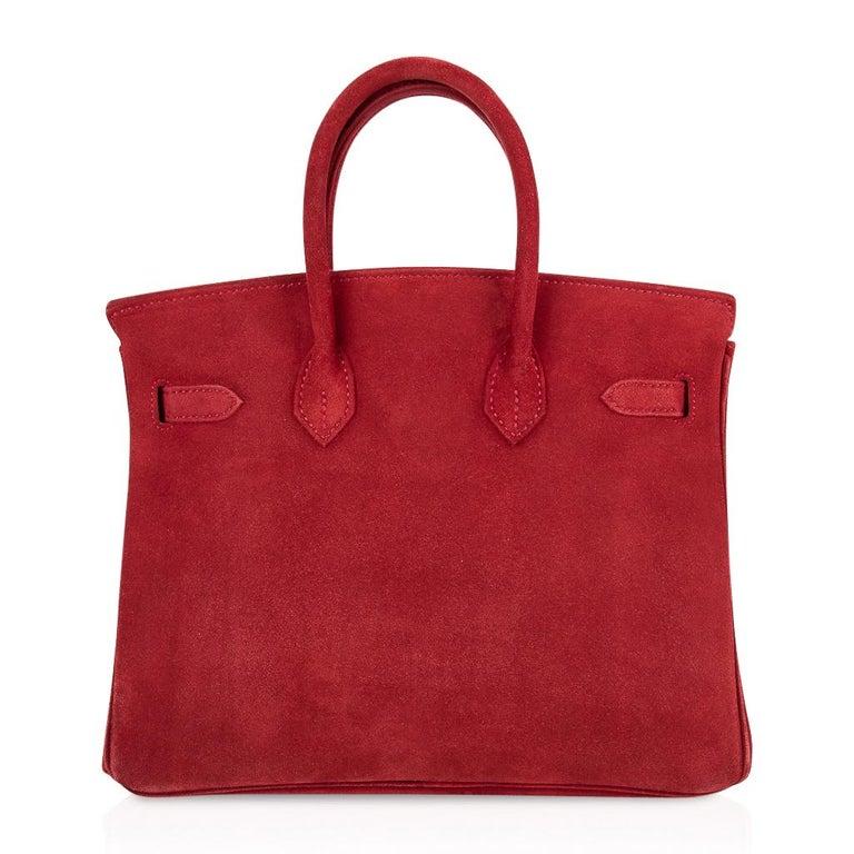 Hermes Birkin 25 Doblis Bag Rouge Vif Suede Gold Hardware For Sale 4