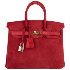 Hermes Birkin 25 Doblis Bag Rouge Vif Suede Gold Hardware