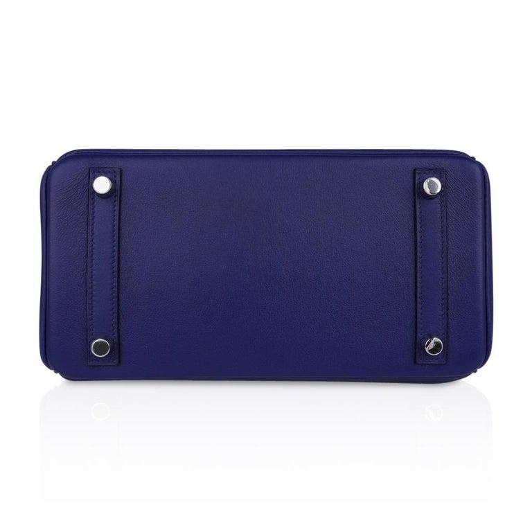 Hermes Birkin 25 Exotic Blue Sapphire (Bleu Saphir) Swift Leather Palladium For Sale 6