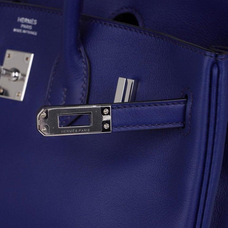 Hermes Birkin 25 Exotic Blue Sapphire (Bleu Saphir) Swift Leather Palladium In New Condition For Sale In Miami, FL