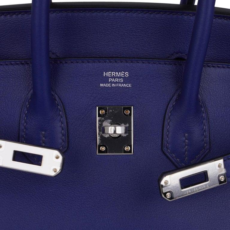 Women's Hermes Birkin 25 Exotic Blue Sapphire (Bleu Saphir) Swift Leather Palladium For Sale