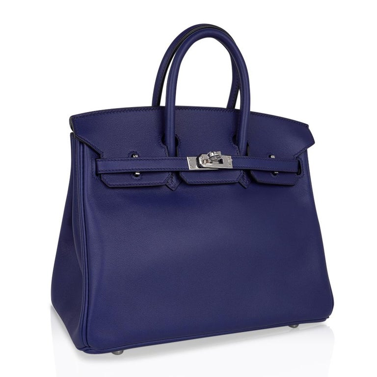 Hermes Birkin 25 Exotic Blue Sapphire (Bleu Saphir) Swift Leather Palladium For Sale 1