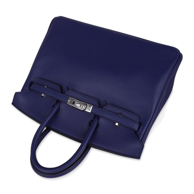 Hermes Birkin 25 Exotic Blue Sapphire (Bleu Saphir) Swift Leather Palladium For Sale 2
