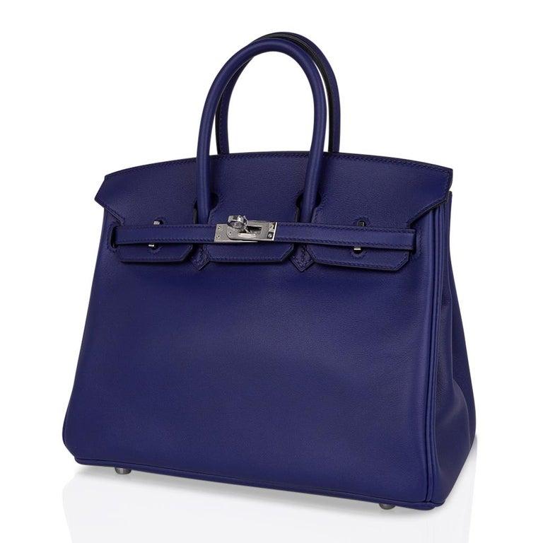 Hermes Birkin 25 Exotic Blue Sapphire (Bleu Saphir) Swift Leather Palladium For Sale 3