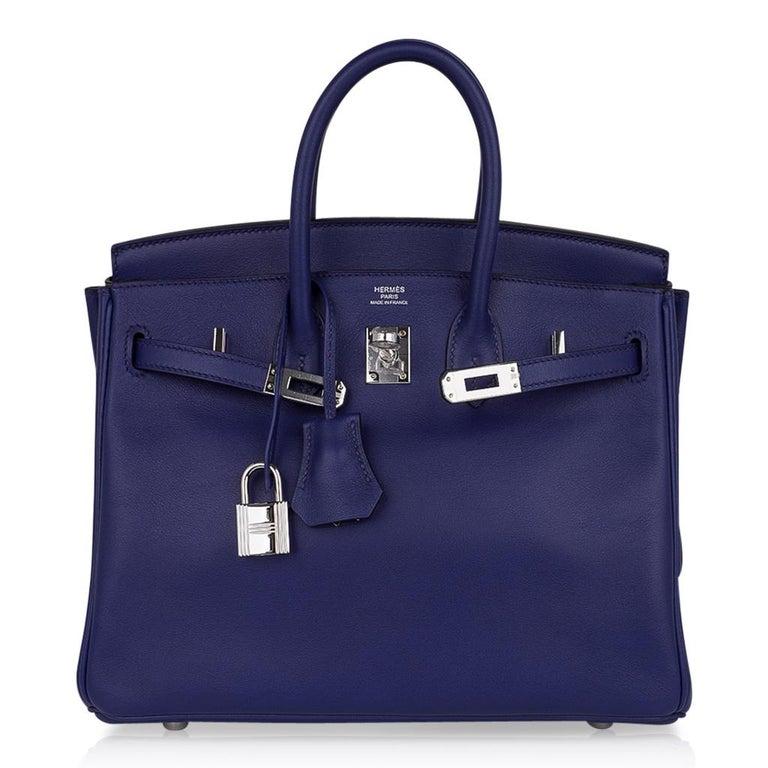 Hermes Birkin 25 Exotic Blue Sapphire (Bleu Saphir) Swift Leather Palladium For Sale 4