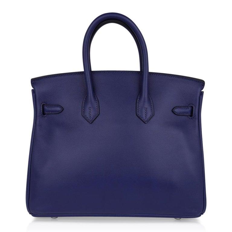 Hermes Birkin 25 Exotic Blue Sapphire (Bleu Saphir) Swift Leather Palladium For Sale 5