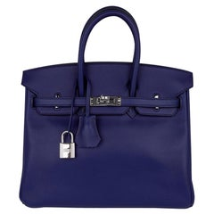 Hermes Birkin 25 Exotic Blue Sapphire (Bleu Saphir) Swift Leather Palladium