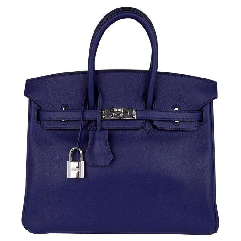 Hermes Birkin 25 Exotic Blue Sapphire (Bleu Saphir) Swift Leather Palladium For Sale