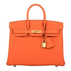 Hermes Birkin 25 Feu Orange Togo Gold Hardware
