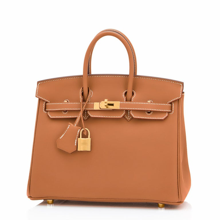 Hermes Birkin 25 Gold Camel Tan Bag Swift Gold Hardware Y Stamp, 2020 Just purchased from Hermes store; bag bears new interior 2020 Y Stamp. Brand New in Box. Store Fresh. Pristine Condition (with plastic on hardware) Perfect gift! Comes full set
