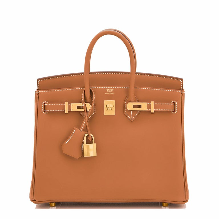 Brown Hermes Birkin 25 Gold Camel Tan Bag Swift Gold Hardware Y Stamp, 2020 For Sale