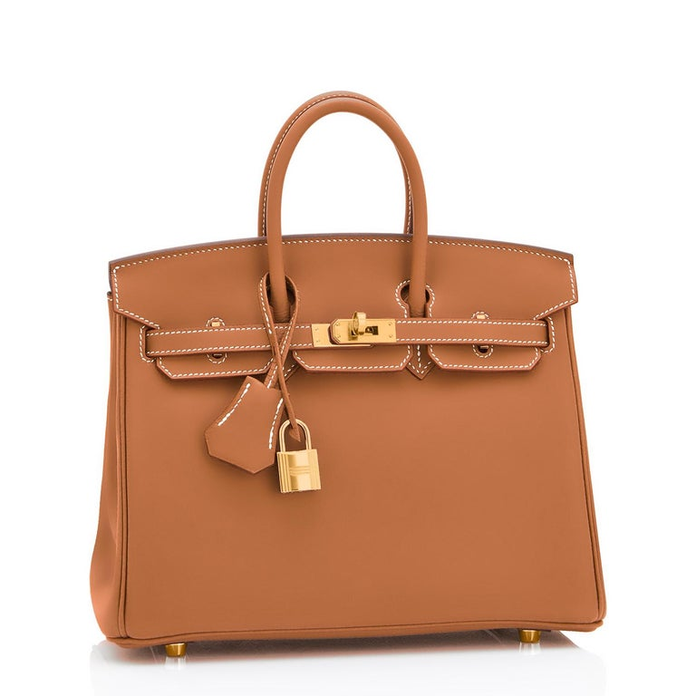 Hermes Birkin 25 Gold Camel Tan Bag Swift Gold Hardware Y Stamp, 2020 In New Condition For Sale In New York, NY