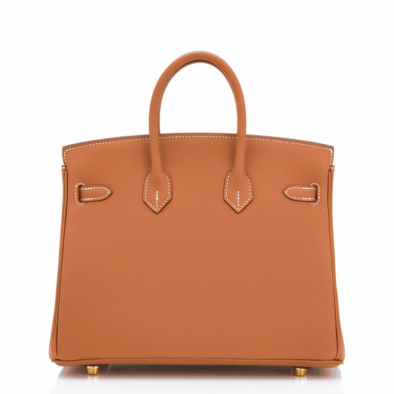 Women's or Men's Hermes Birkin 25 Gold Camel Tan Bag Swift Gold Hardware Y Stamp, 2020 For Sale