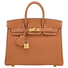 Hermes Birkin 25 Gold Camel Tan Bag Swift Gold Hardware Y Stamp, 2020