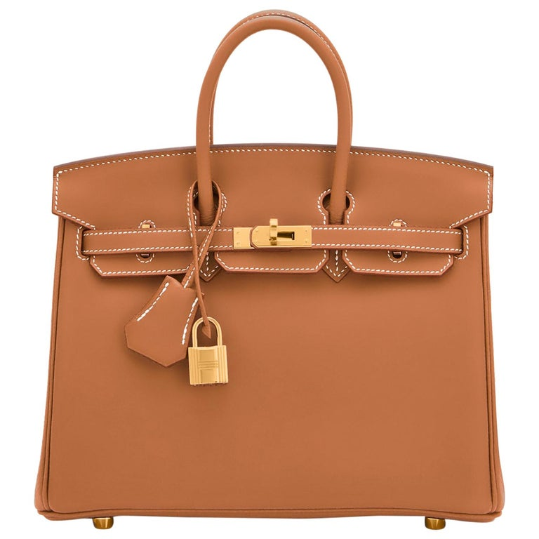 Hermes Birkin 25 Gold Camel Tan Bag Swift Gold Hardware Y Stamp, 2020 For Sale