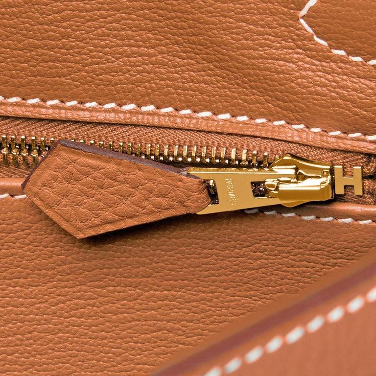 Hermes Birkin 25 Gold Camel Tan Bag Togo Gold Hardware Y Stamp, 2020 For Sale 5