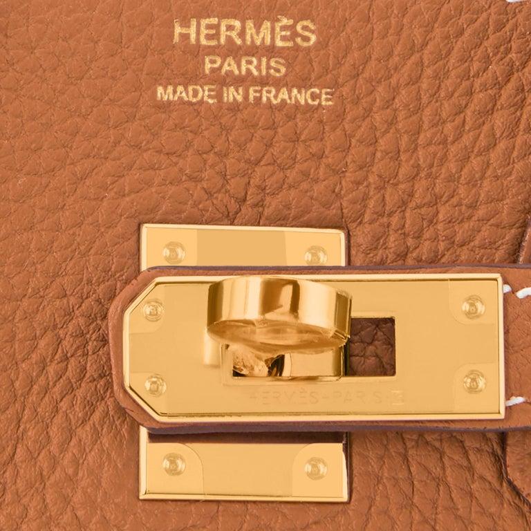 Hermes Birkin 25 Gold Camel Tan Bag Togo Gold Hardware Y Stamp, 2020 For Sale 6