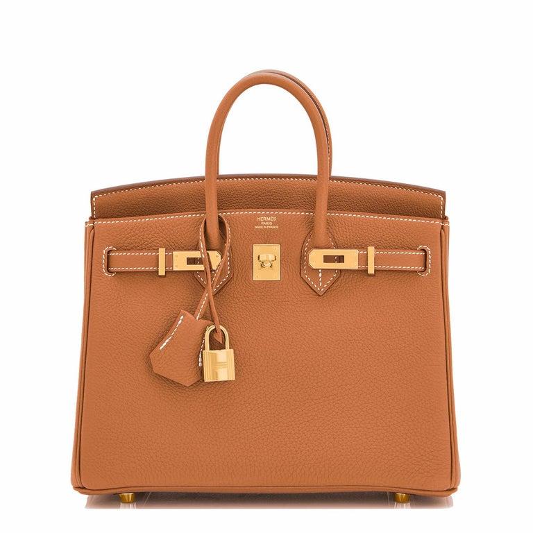 Hermes Birkin 25 Gold Camel Tan Bag Togo Gold Hardware Y Stamp, 2020 For Sale 7
