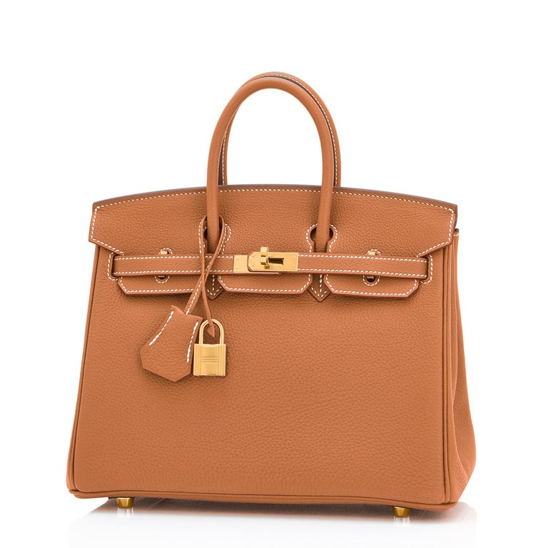 Hermes Birkin 25 Gold Camel Tan Bag Togo Gold Hardware Y Stamp, 2020 Here it is- the most sought-after, number one requested Birkin of spring summer 2021! Just purchased from Hermes store; bag bears new interior 2020 Y Stamp. Brand New in Box. Store