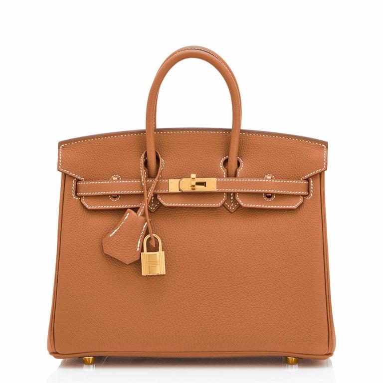 Brown Hermes Birkin 25 Gold Camel Tan Bag Togo Gold Hardware Y Stamp, 2020 For Sale