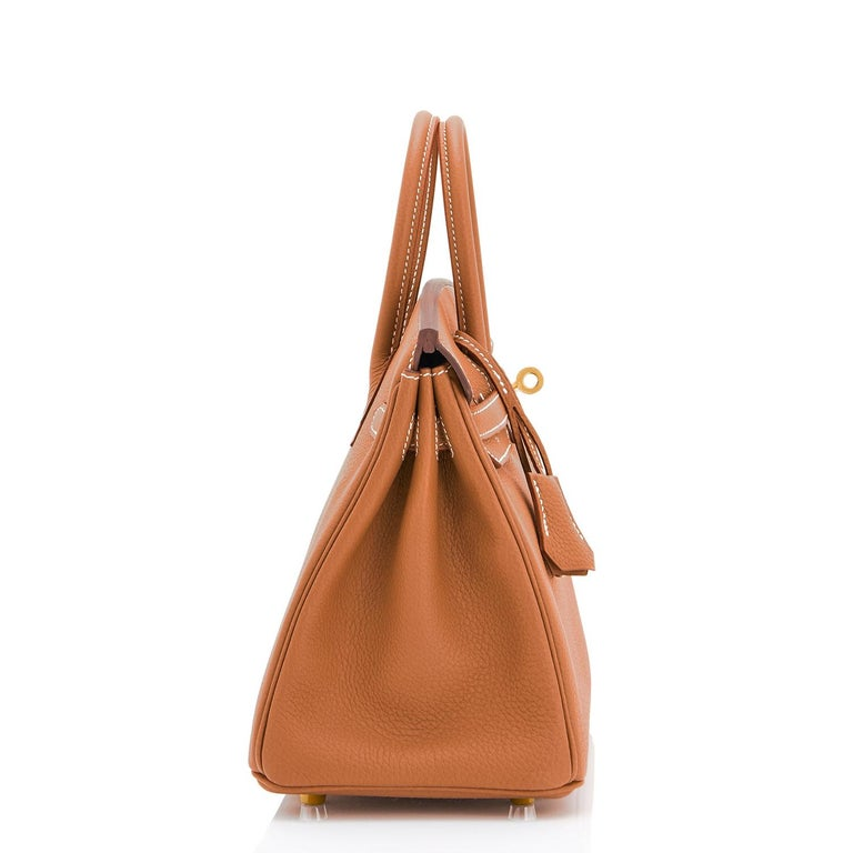 Women's or Men's Hermes Birkin 25 Gold Camel Tan Bag Togo Gold Hardware Y Stamp, 2020 For Sale