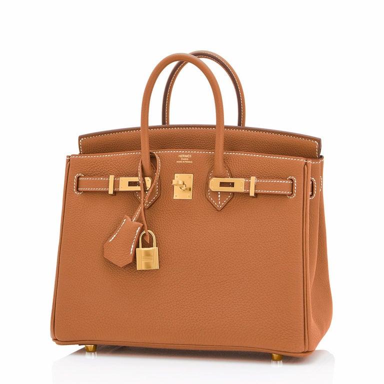 Hermes Birkin 25 Gold Camel Tan Bag Togo Gold Hardware Y Stamp, 2020 For Sale 2