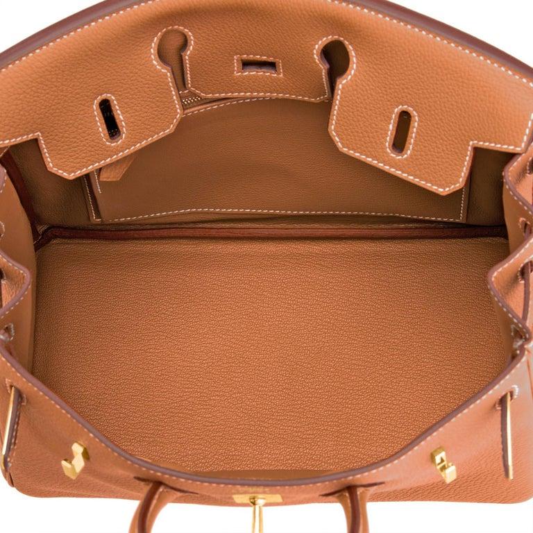 Hermes Birkin 25 Gold Camel Tan Bag Togo Gold Hardware Y Stamp, 2020 For Sale 4