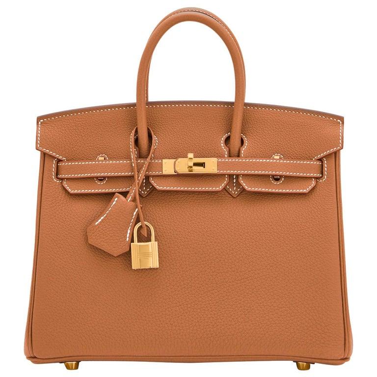Hermes Birkin 25 Gold Camel Tan Bag Togo Gold Hardware Y Stamp, 2020 For Sale