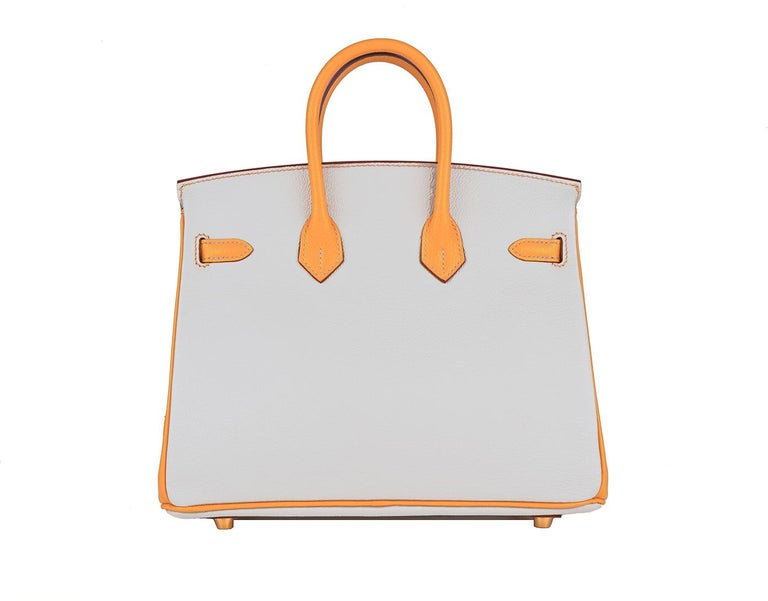 Hermes 25cm Special Order Birkin HSS Gris perle and Moutarde Gris Perle one of the most sought after colors Hermes has produced in a light grey Chevre Leather, the most durable leather This is such a great combination, as it takes you from day to