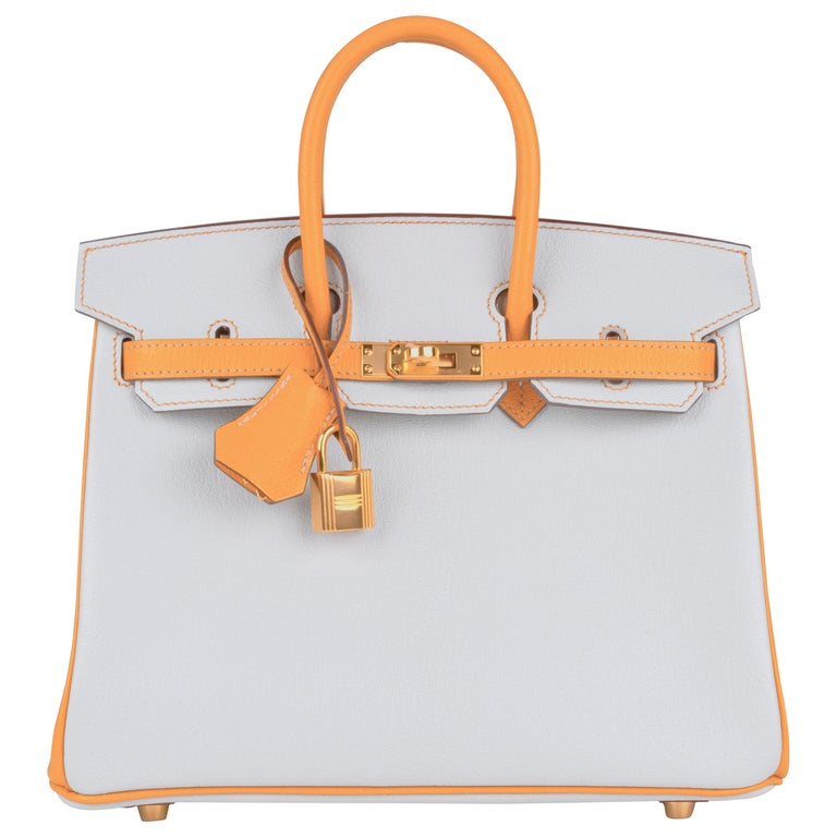 Hermes Birkin 25 Gris Perle Moutarde Special Order Chevre For Sale