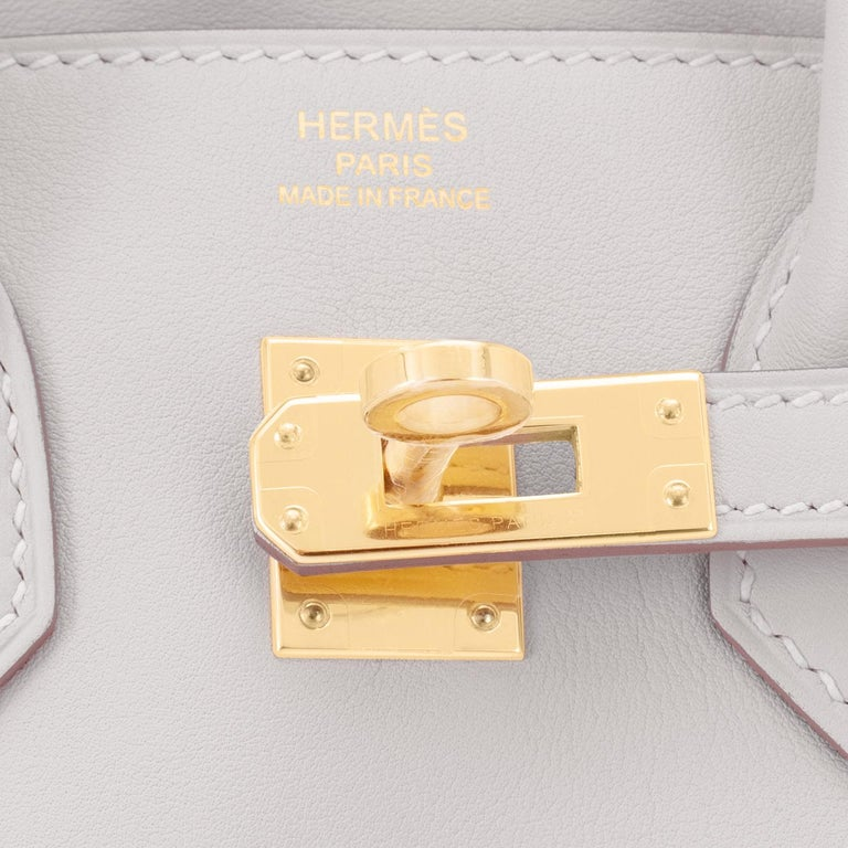 Hermes Birkin 25 Gris Perle Pearl Gray Bag Gold Hardware Y Stamp, 2020 For Sale 6