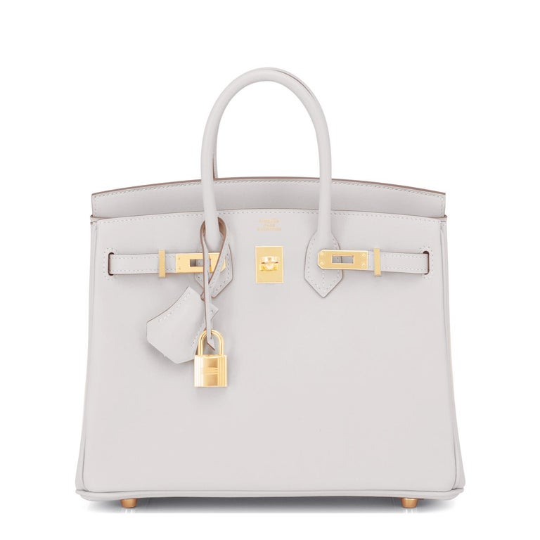 Hermes Birkin 25 Gris Perle Pearl Gray Bag Gold Hardware Y Stamp, 2020 In New Condition For Sale In New York, NY