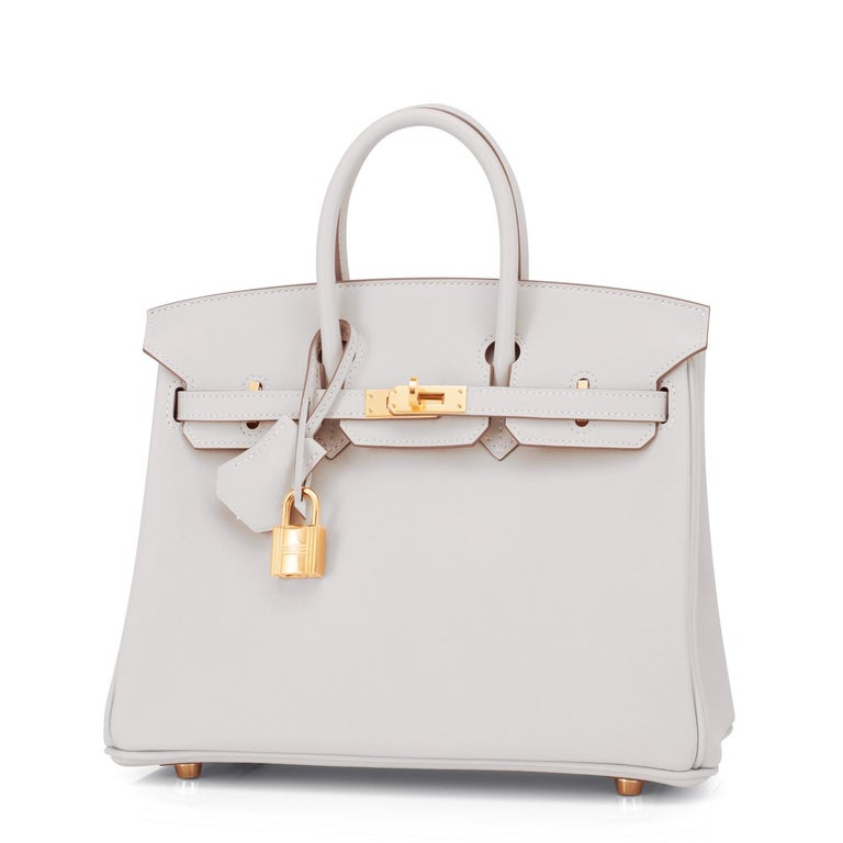 Women's or Men's Hermes Birkin 25 Gris Perle Pearl Gray Bag Gold Hardware Y Stamp, 2020 For Sale