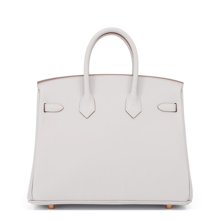 Hermes Birkin 25 Gris Perle Pearl Gray Bag Gold Hardware Y Stamp, 2020 For Sale 2