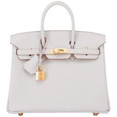 Hermes Birkin 25 Gris Perle Pearl Gray Bag Gold Hardware Y Stamp, 2020