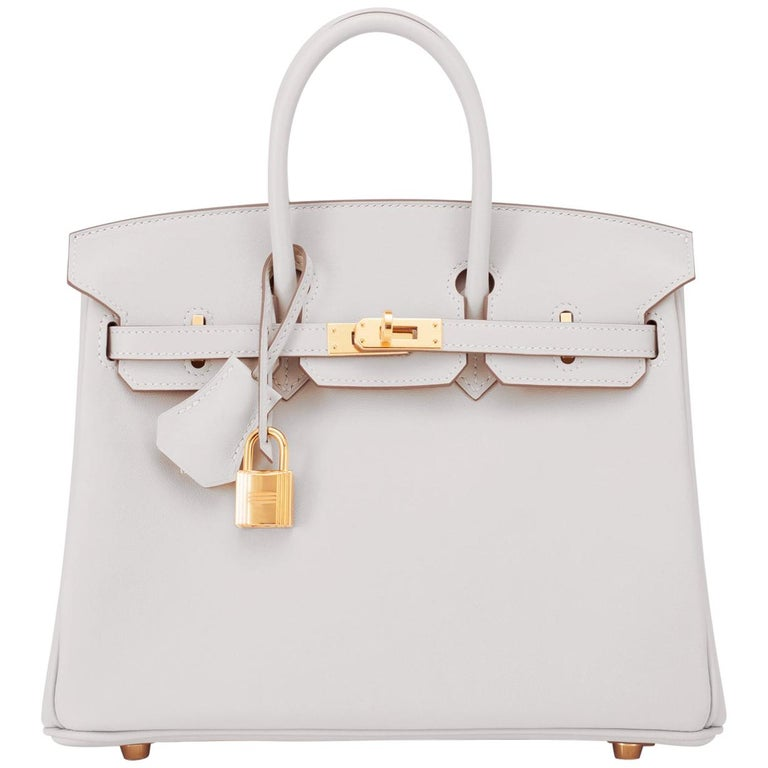 Hermes Birkin 25 Gris Perle Pearl Gray Bag Gold Hardware Y Stamp, 2020 For Sale