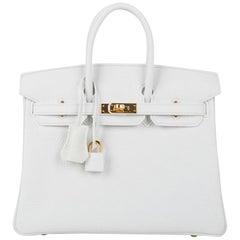 Hermes Birkin 25 HSS Bag White Clemence Gold Hardware nwt