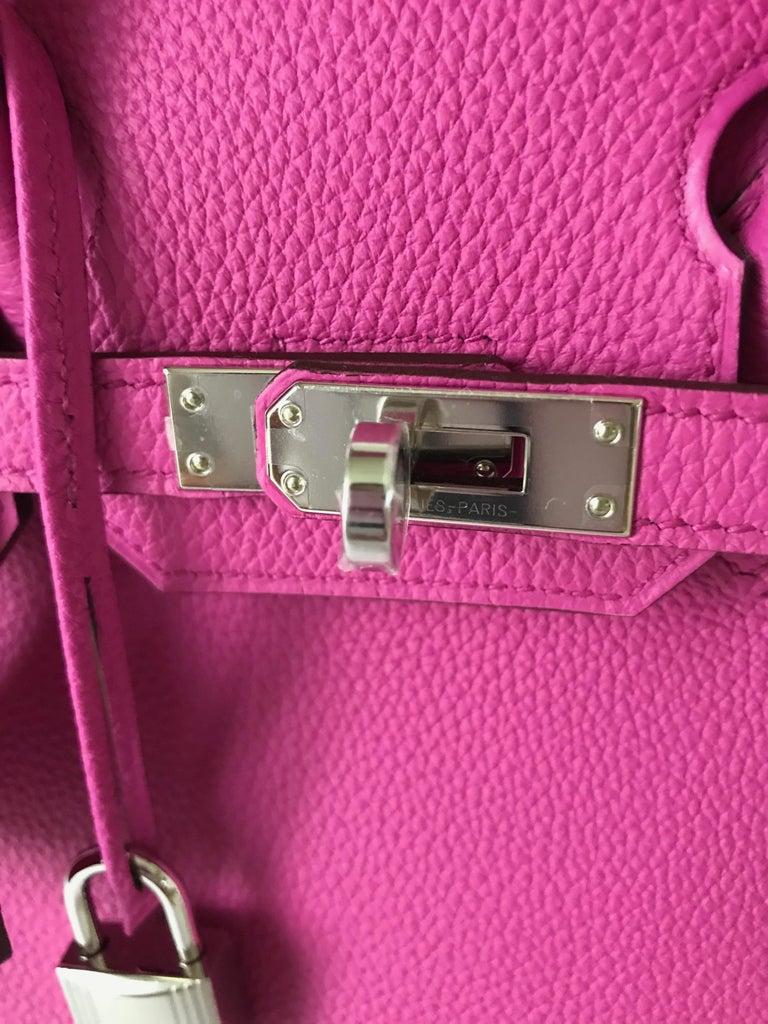 Women's or Men's Hermes Birkin 25 Magnolia Togo Palladium Bag For Sale