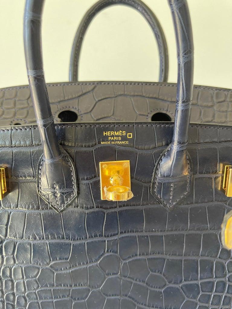Black Hermes Birkin 25 Matte Alligator Blue Indigo Gold Hardware For Sale