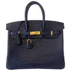 Hermes Birkin 25 Matte Alligator Blue Indigo Gold Hardware