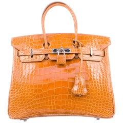 Hermes Birkin 25 Mustard Alligator Exotic Top Handle Satchel Tote Bag