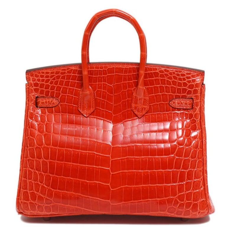 Women's Hermes Birkin 25 Orange Crocodile Exotic Top Handle Satchel Tote Bag For Sale