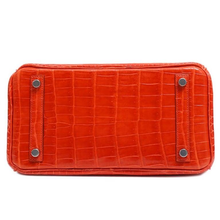 Hermes Birkin 25 Orange Crocodile Exotic Top Handle Satchel Tote Bag For Sale 1