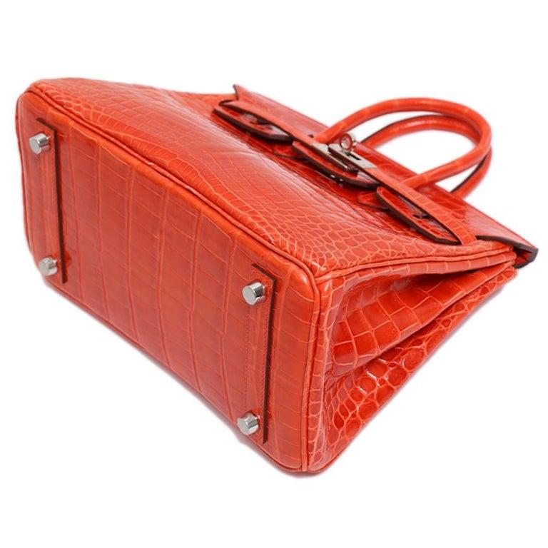 Hermes Birkin 25 Orange Crocodile Exotic Top Handle Satchel Tote Bag For Sale 2