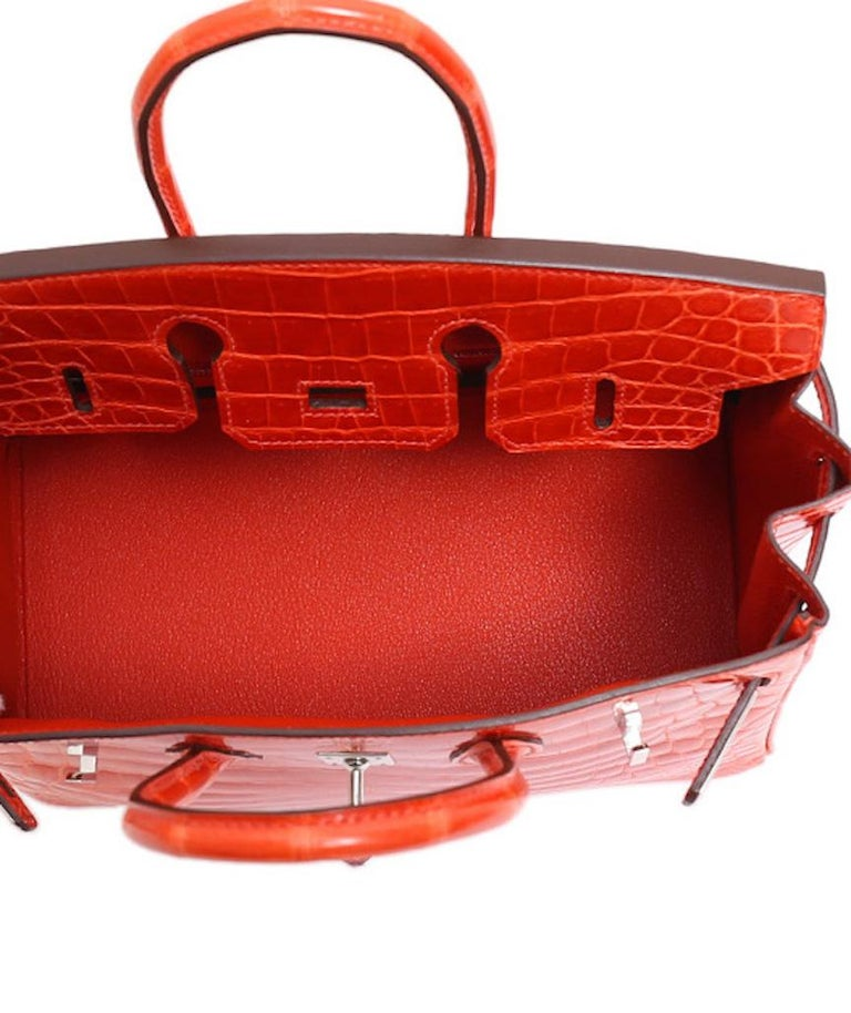 Hermes Birkin 25 Orange Crocodile Exotic Top Handle Satchel Tote Bag For Sale 3