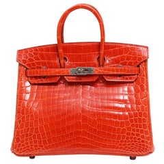 Hermes Birkin 25 Orange Crocodile Exotic Top Handle Satchel Tote Bag