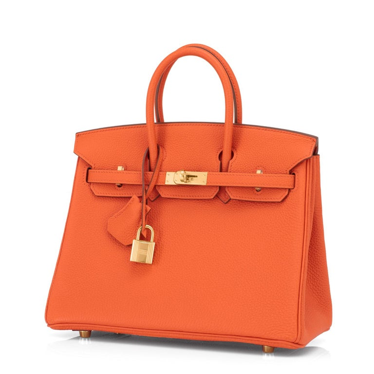 Hermes Birkin 25 Orange Feu Bag Gold Jewel Y Stamp, 2020 Just purchased from Hermes store; bag bears new interior 2020 Y Stamp. Brand New in Box. Store fresh. Pristine Condition (with plastic on hardware) Perfect gift! Comes with keys, lock,