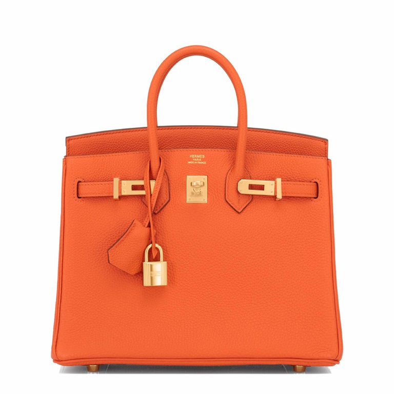 Red Hermes Birkin 25 Orange Feu Togo Bag Gold Jewel Y Stamp, 2020