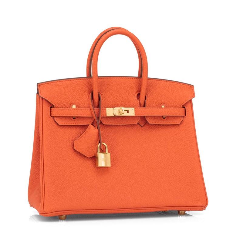 Hermes Birkin 25 Orange Feu Togo Bag Gold Jewel Y Stamp, 2020 In New Condition In New York, NY