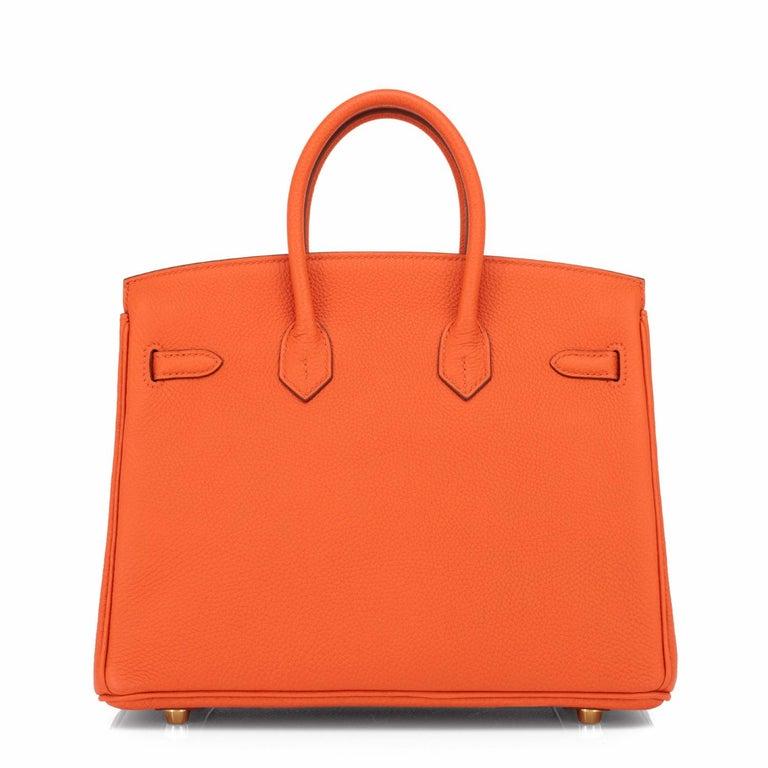 Women's Hermes Birkin 25 Orange Feu Togo Bag Gold Jewel Y Stamp, 2020